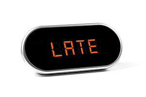digital alarm clock with text - late