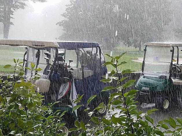 golf carts in rain